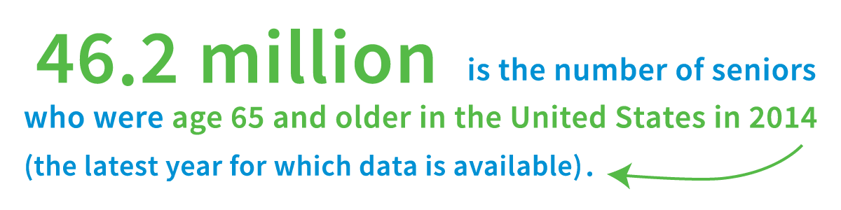 46.2 million is the number of seniors who were age 65 and older in the United States in 2014 (the latest year for which data is available).